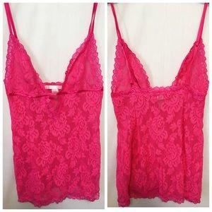 Victoria's Secret Deep Pink Lace Teddy babydoll